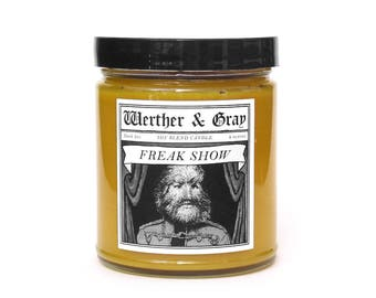 FREAK SHOW, Scented Candle, Sideshow, Circus Performer, Scientific History, Medical History, P. T. Barnum, Dog-Faced, Kettle Corn Fragrance