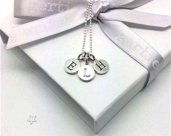 childrens initials necklace, mothers necklace, triple initial necklace, jewelry for mom, jewelry for nan, silver initials necklace, keepsake