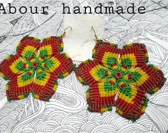 Macrame earrings, Mandala flower earrings, handcrafted