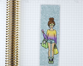 Laminated Shopping With Cat Girl Bookmark