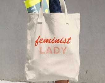 Feminist Lady Cotton Tote Bag Made in USA