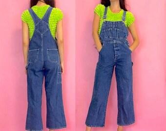 SUMMER SALE Vintage 90s Denim Flare Blue Jean Overalls Dungarees Romper One Piece