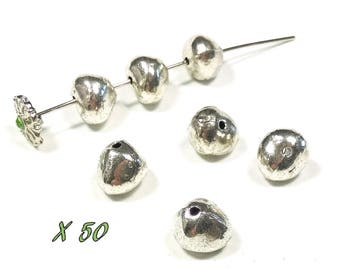 50 7/9 mm antique silver nugget beads