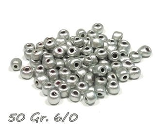 50gr of large 6/0 seed beads 4 mm silver