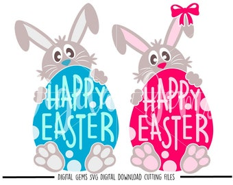 Easter bunnies svg / dxf / eps / png files. Digital download. Compatible with Cricut and Silhouette machines. Small commercial use ok.