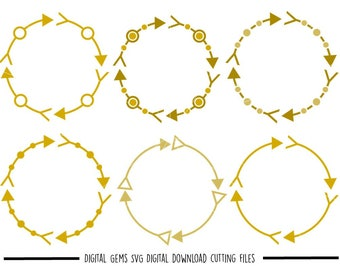 Tribal circle arrow frames svg / dxf / eps / png files. Digital download. Compatible with Cricut and Silhouette machines. Commercial use ok.