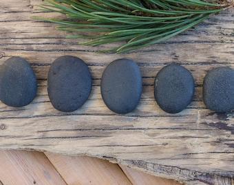 Small Black Stones - Flat Pebbles - Natural Tumbled Rocks