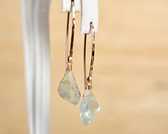 Raw Aquamarine Earrings, Blue Raw Crystal Earrings, March Birthstone Dangle, Rough Gemstone Earrings: 14K Rose Gold Filled, Sterling Silver