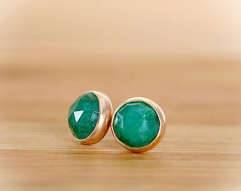 Natural Emerald Earrings, Emerald Stud Earrings, Rose Cut Green Gemstone Posts, May Birthstone: Sterling Silver 14k Gold Filled 6mm 8mm 10mm