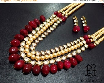 ON SALE Kundan Polki Haar,Gold Red Kundan,Haar Necklace,Long Rani Haar Necklace,Kundan Jewelry,Indian Jewelry,Polki Necklace,Polki Bridal Ne