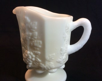 "Vintage Westmoreland White Milk Glass Creamer Pitcher Paneled Grape 5"" Tall"