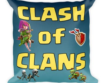 Clash of Clans Square Pillow - Blue