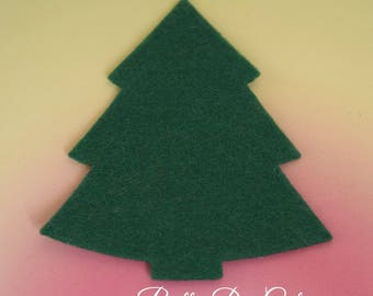 Felt Christmas Trees, Emerald Green Trees, Pack of Xmas Trees, Christmas Felt Shapes, Christmas Decoration, Die Cut Craft Embellishments