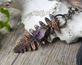 Amethyst fern crystal necklace - real electroformed plant flower spring botany protection healing purple jewelry