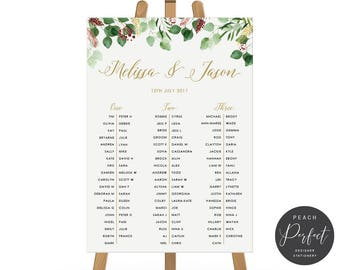 Printable Wedding Seating Chart, Seating Plan, Digital DIY or Professionally Printed, Green Leafy Watercolour, Bohemian Luxe