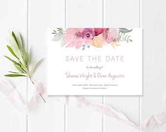 Wedding Save The Date, Pink Floral, Printable or Professionally Printed, Free Colour Changes, Bloom Suite, Peach Perfect