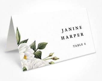 Wedding Place Cards, White Floral Placecards, Watercolour Foliage Leaves, Free Colour Changes, DEPOSIT, Mandy Suite
