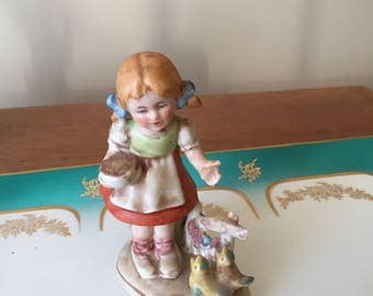 Vintage Antique Porcelain Figurine, girl w/birds, Germany height is 4 inches