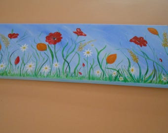 Painting acrylic canvas of wild flowers