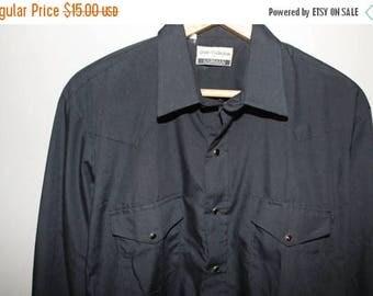 SALE Vintage 70s 80s Black Western Shirt Rockabilly Cowboy Pearl Snaps L 44 Chest Poly Cotton Blend Grunge Goth