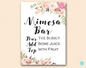 Boho Floral Mimosa Bar Sign, Mimosa Bar Printable, Bubbly Bar Sign, Mimosa Sign, Mimosa Bar, Bridal Shower Decoration Signs BS546 TLc546