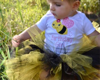 Bumblebee girl personalized birthday bodysuit