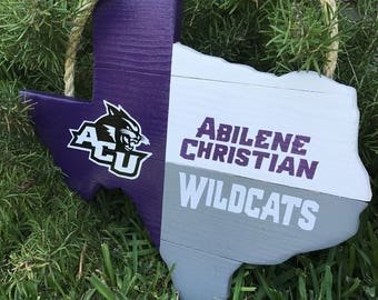 Rustic Wooden Abilene Christian University Texas Shaped Flag Door/Wall Hanging