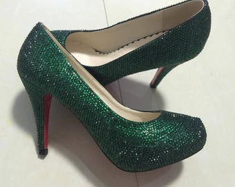 Dark Green Rhinestone Classic Pumps Slippers Sparkly Women shoes Customize Crystal Shoes Emerald Shoes Prom Dance Heel Grisl's Women's Shoes
