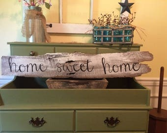 Home Sweet Home Distressed Farmhouse White Wash Sign