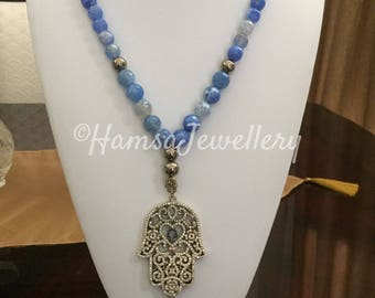 SPRING SALE! Blue Agate Necklace with Brass Hamsa Pendant, Gift for Her, Timeless Gift, Valentine's Day, Birthday, Christmas, Wedding, Mothe
