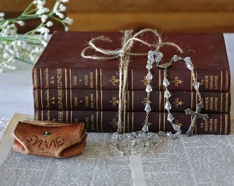 Vintage rosary with leather pouch - Catholic religious rosary - Priest rosary - Crystal Prayer beads - Necklace rosary - Religious art gift