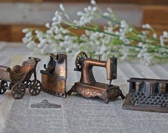 Doll furniture 4 pieces Miniature Dollhouse Tree ornament Die cast Baby stroller Sewing machine Typewriter Clothes iron Durham Industries