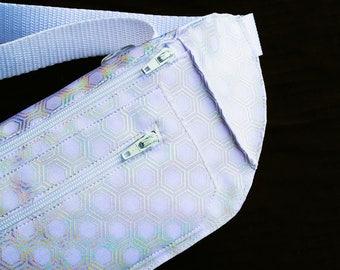 Holographic White Geometric Honeycomb Festival Burning Man Fanny Pack Bum Bag for Men or Women