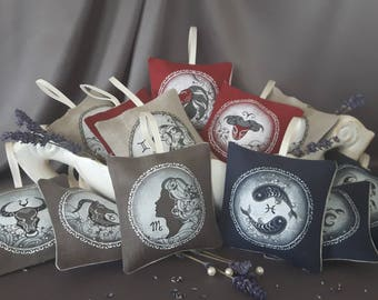 Hand painted linen sachets, Zodiac signs (air, earth, water, fire signs ), organic dried lavender inside.