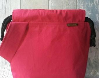 Large bag, 14 x 12 inch bag, canvas bag, drawstring bag, bag with handle, knitting bag, crochet bag, craft bag, knitting project bag, wip