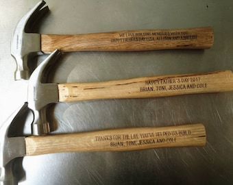Custom engraved hammer- Great for Father's Day, birthday and groomsmen gifts.