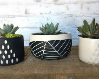 Small planter - Wheel thrown planter - modern plant container - Succulent planter