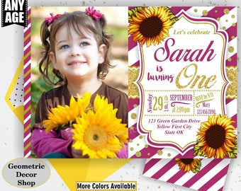 Sunflower Birthday Invitation / First Party Invite Fall Invitation Floral Girl 1st Flowers Gold Burgundy teal glitter / One / photo SF3/4/5