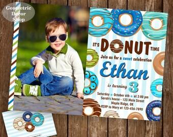 Donut Birthday Party Invitation doughnut Party Invitation boy birthday blue green teal Digital PRINTABLE ANY AGE photo photograph BDonut2