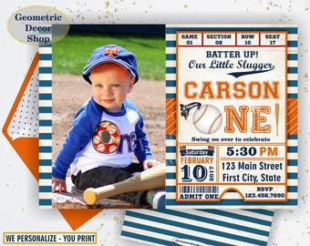 First Birthday invitation Vintage Baseball Sports Invite 1st All star invitations One Ball orange blue invites boy photo photograph BDSP23