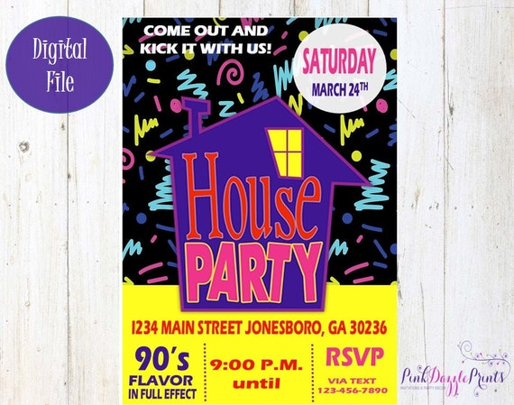 House Party Invitation 90s Party Invitation Birthday Party Any