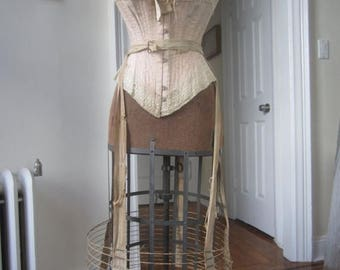 SALE Antique victorian Bustle wire hoop skirt #4