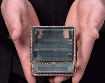 WEDDING RING BOX ring bearer box pillow page boy best man commitment ceremony rustic square glass elegant