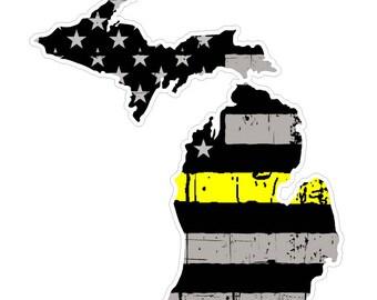 Michigan State (E23) Thin Yellow Line Dispatch Vinyl Decal Sticker Car/Truck Laptop/Netbook Window