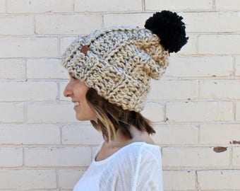 Super Slouchy Thick Winter Beanie | Pom Pom Beanie