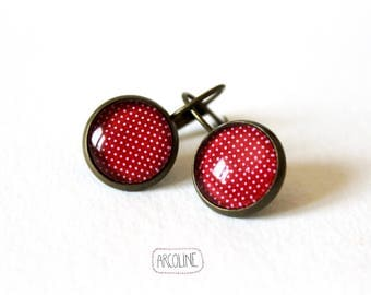 Earrings sleepers ° ° ° Retro red polka dot Cabochon