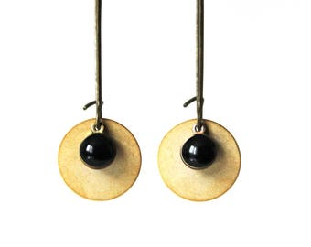 Enamelled Sequin black gold earrings