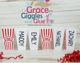 5 Personalized Reusable Popcorn Tubs, Family Movie Night Tubs, Popcorn Favors