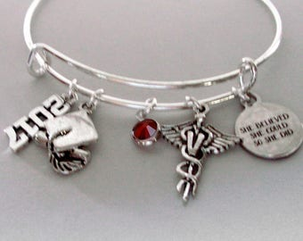 """Personalized Veterinarian / Graduation  """"She Believed She Could So She Did"""" Bangle W/ Birthstone -  College Gifts / Under 20 30 C1"""