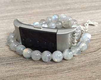 Moonstone Handmade Bracelet for Fitbit Charge 2 Activity Tracker Silver Double Wrap Fitbit Charge 2 Band Protective Healing Bracelet